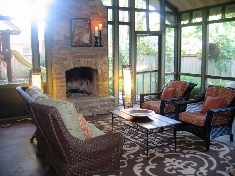 Screened porch in nashville tennessee by cke interior des for Screened porch fireplace designs