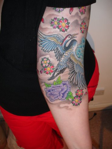 japanese cranes tattoo | 9.5hrs later my tattoo is ... - photo#19