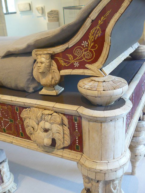 Roman couch and footstool with bone carvings glass inl