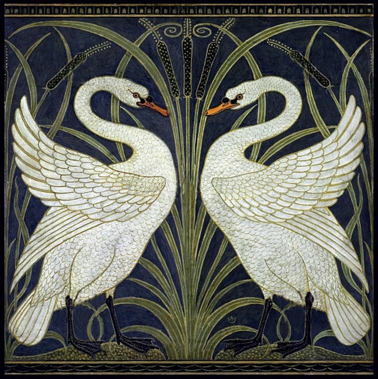 Rush Wallpaper: 'Swan, Rush & Iris' (1875) By Walter Crane
