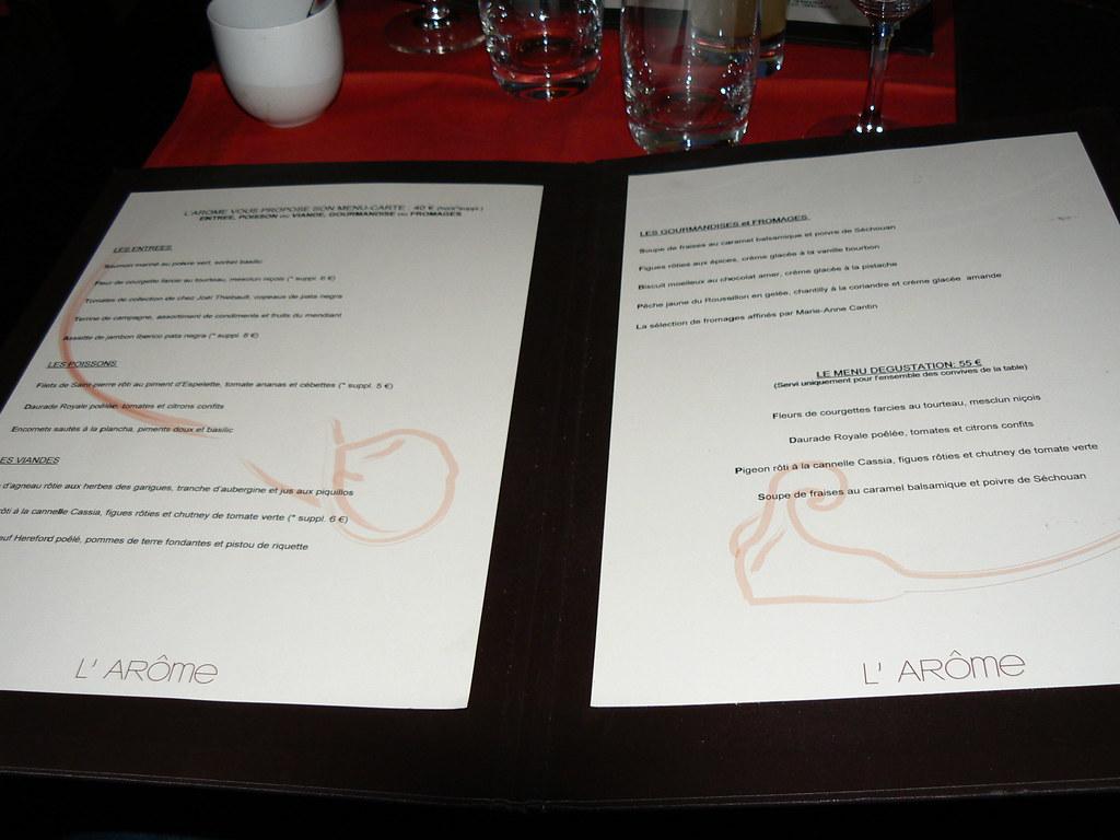 L Arome Restaurant Menu