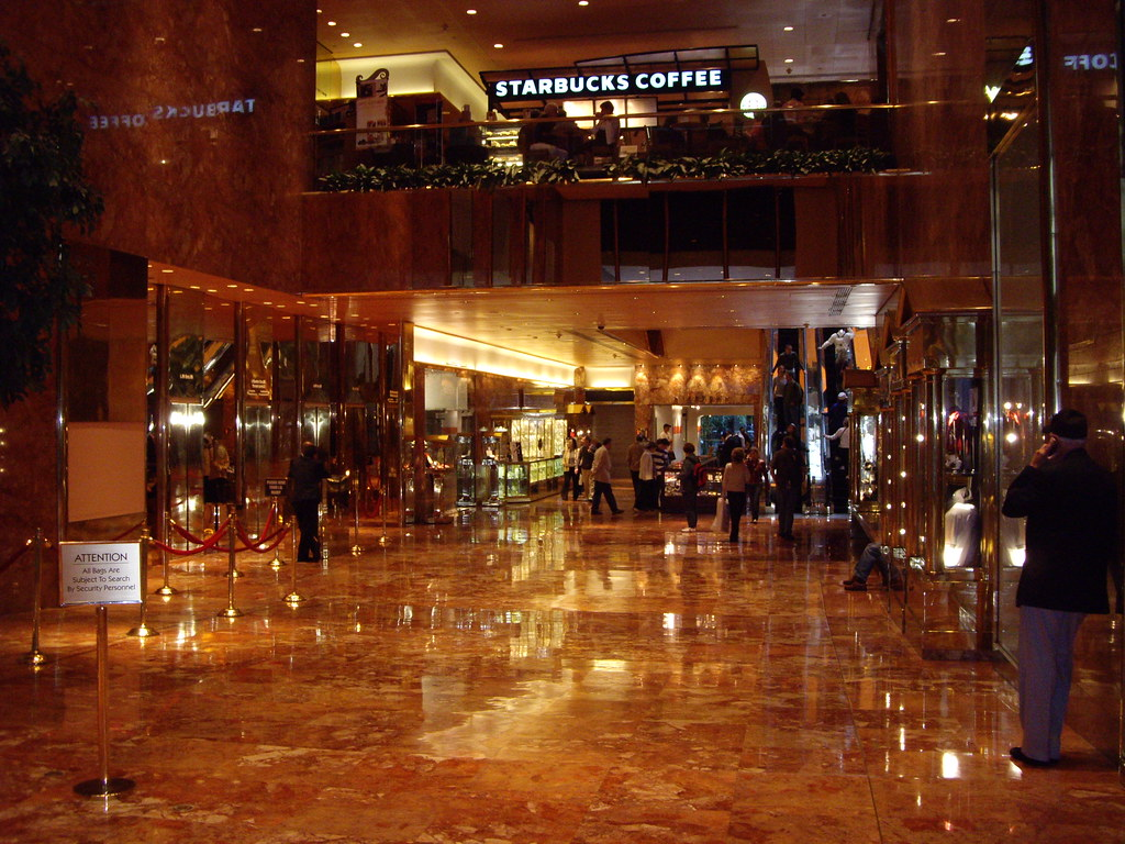 """Trump Tower entrance hall   """"Trump, Trump, Trump, Trump"""