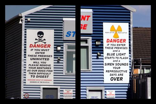 Funny warnings on a storage facility | by doegox