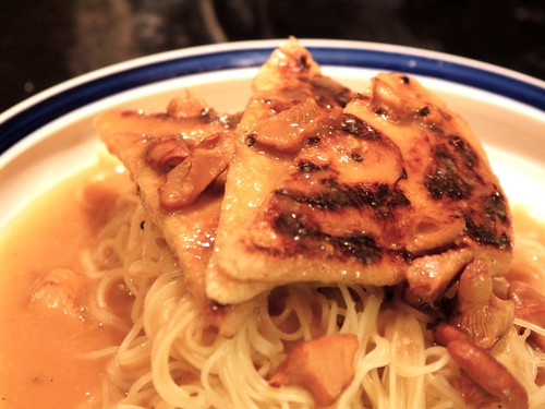 tofu w/ chanterelle sauce over cappellini | by foonus