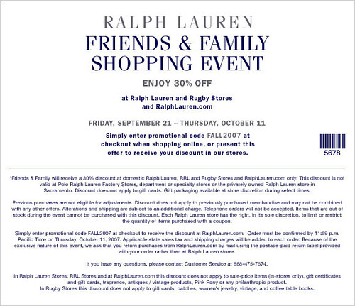 Ralph lauren online coupon code september 2018