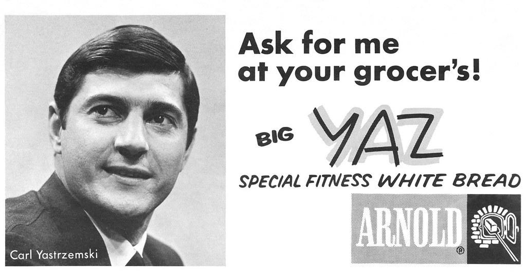 1968 red sox program - yaz bread ad