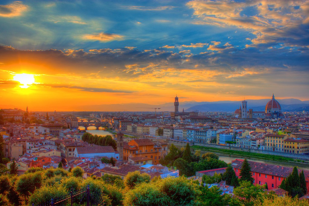 Italian Florence: Sunset Over Florence At Piazza Michelangelo