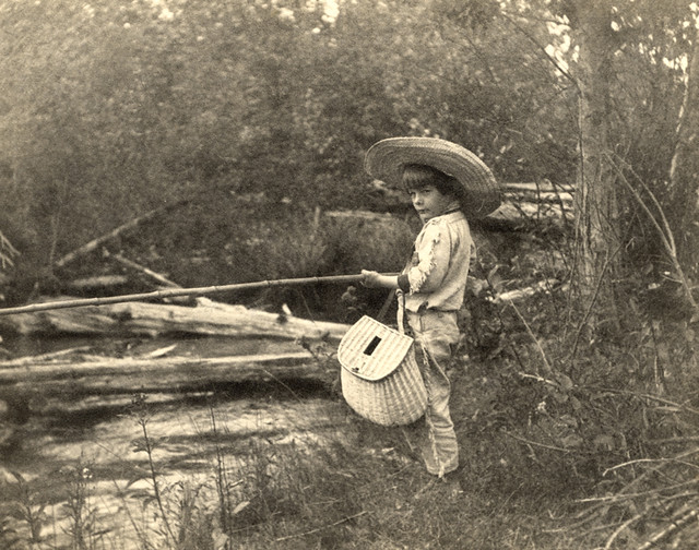 Young Ernest Hemingway fishing in Horton's Creek, near Wal ...