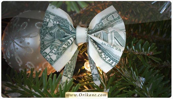 Новогодние игрушки из денег своими руками
