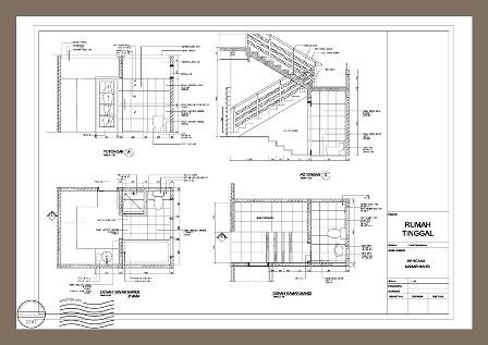 Contoh Gambar Detail Arsitektur Kamar Mandi & Tangga di ru