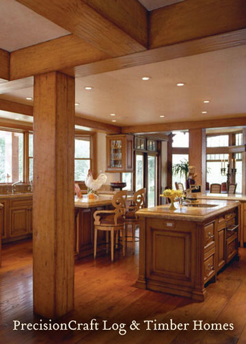 Custom Timber Frame Home Kitchen Sun Valley Idaho Pre