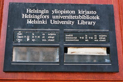 Helsinki university library, opening hours | by library_mistress