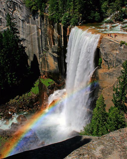 Rainbow over the Mist Trail, near Vernal Falls, Yosemite ...   Yosemite Vernal Falls Rainbow