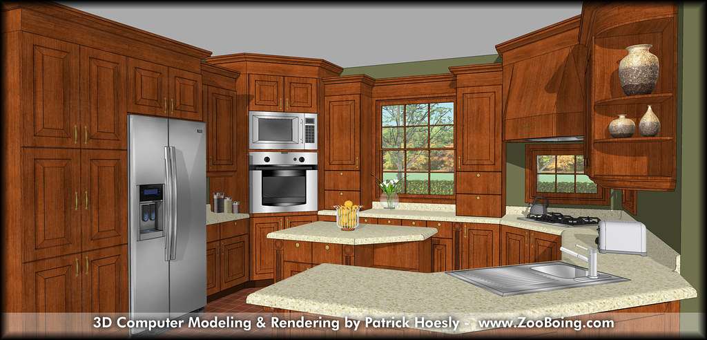 3d computer rendering kitchen sketchup rendering flickr for 3d drawing kitchen