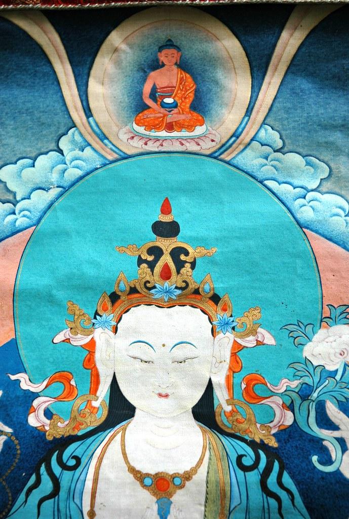 detail chenrezig thangka avalokiteshvara bodhisattva o