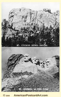 Mt. Rushmore---Before & After | An old postcard showing the ... Rushmore