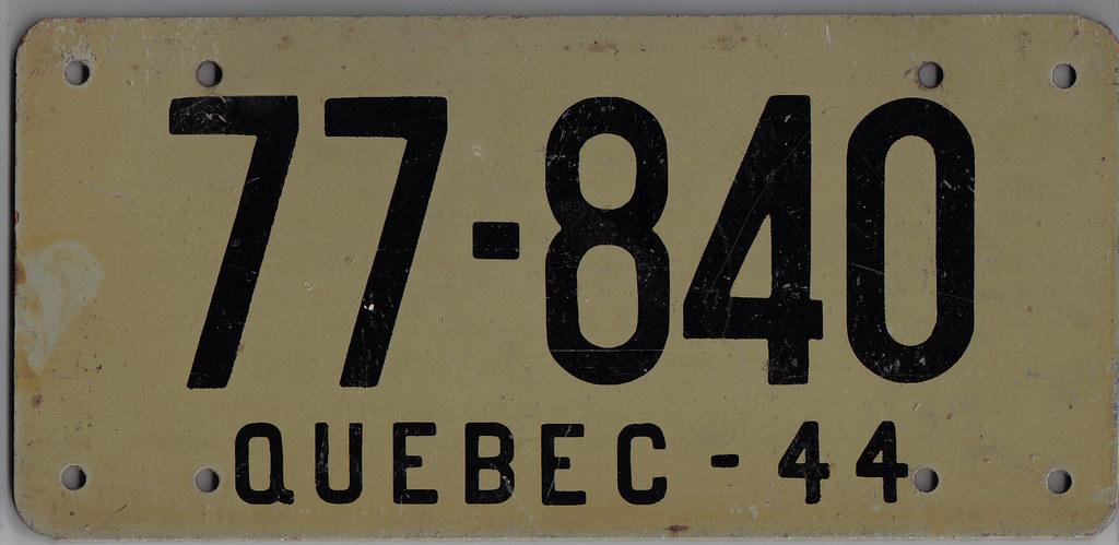Quebec 1944 Masonite Plate 1944 Quebec License Plate
