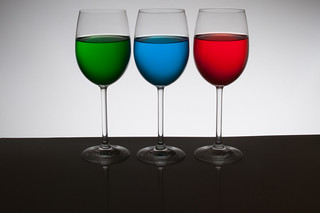Playing with food color - 3 glasses back light only | by udijw