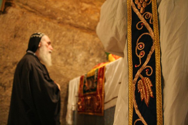 Assyrian priest at the Tomb of the Virgin Mary ...