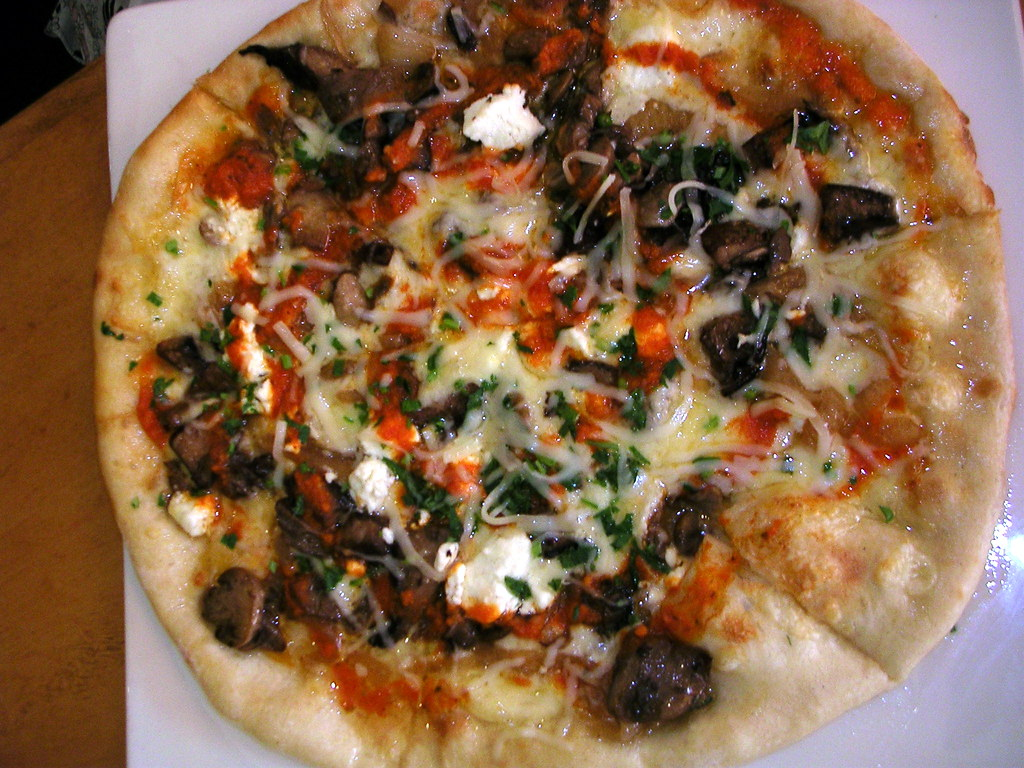 Wild Mushroom and Goat Cheese Pizza from Wolfgang Puck | Flickr