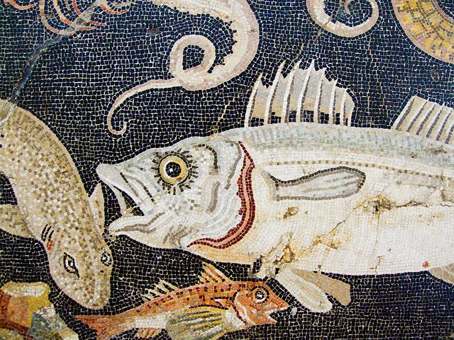 Marine Mosaic Detail From A House In Pompeii 2nd Century