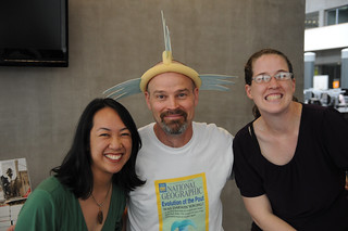 Librarians Ellie Tayag and Janet Pinkley with illustrator of the Pout Pout Fish, Dan Hanna | by California State University Channel Islands