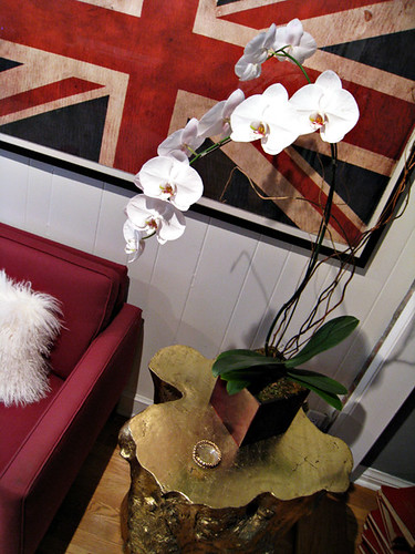 large white orchids+union jack flag print+gold stumps+game room decor+mongolian hair pillow | by ...love Maegan