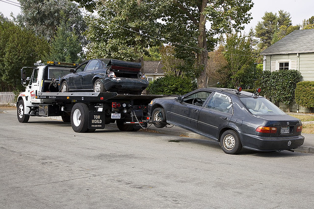 Towed Car Finder >> Honda Civic being towed away | My son's old car ...