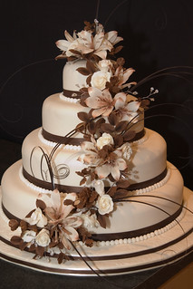 Chocolate Brown and Cream Wedding Cake | by Casa Costello
