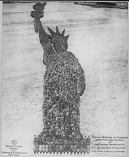 Human Statue of Liberty. 18,000 Officers and Men at Camp Dodge, Des Moines, Iowa. Colonel William Newman, Commanding. Colonel Rush S. Wells, Directing. Mole & Thomas, 09/1918. | by The U.S. National Archives