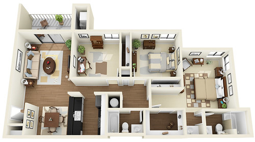 3bedroom 2bath 3d floor plan flickr photo sharing