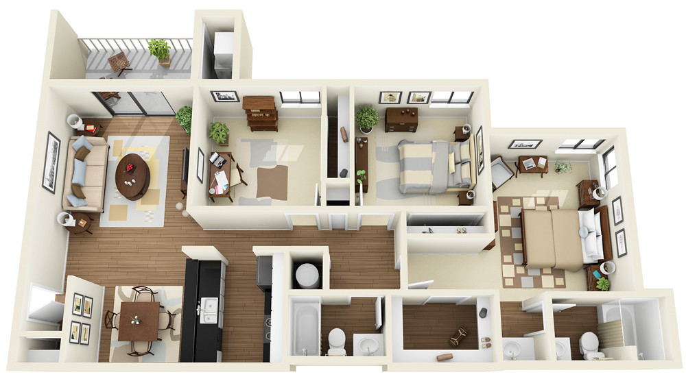 3bedroom 2bath 3d floor plan for Apartment design plans 3d