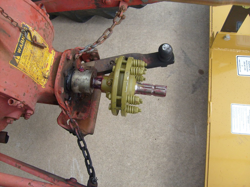 Home Made Tractor Clutch : Closeup of pto shaft with slip clutch this tractor