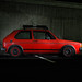 Volkswagen Rabbit lit at night