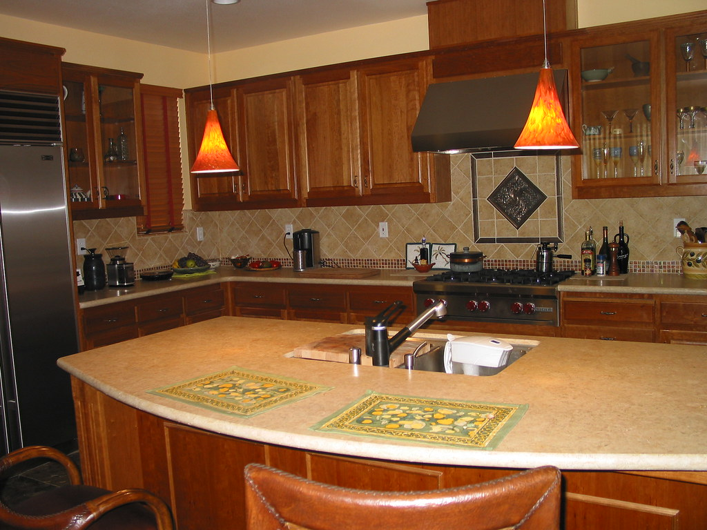 Kitchen Countertop With Honeycolored Kitchen Cabinets