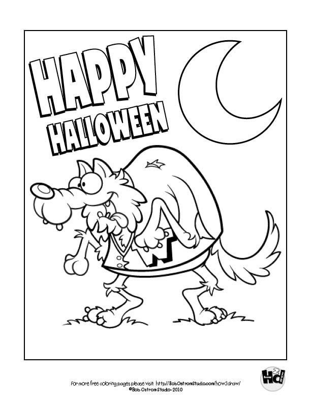 werewolf free halloween coloring page from bob ostrom