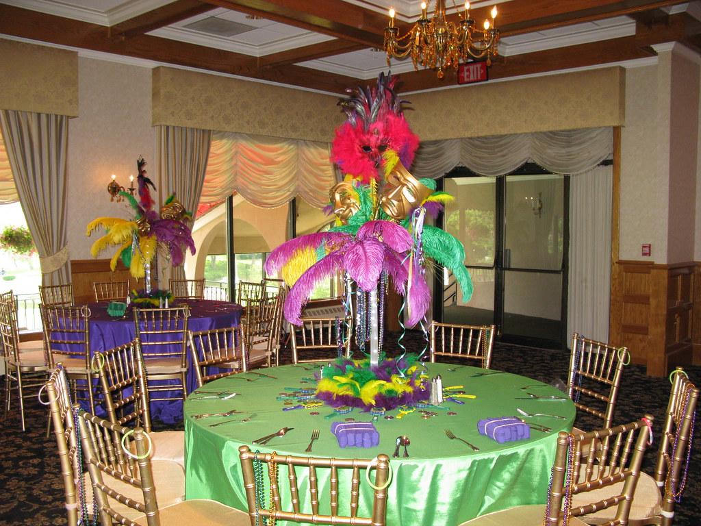 Elegant Mardi Gras Themed Centerpieces For A Sweet 16 At A