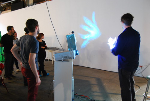 Eyebeam Fellow Aaron Meyers talking with students about his work in development using structured light. | by eyebeam