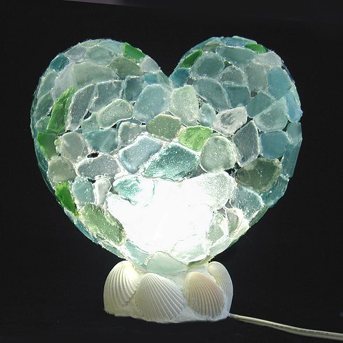Sea Glass Heart Light I Made This Heart Light For The