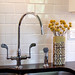 The faucet and backsplash