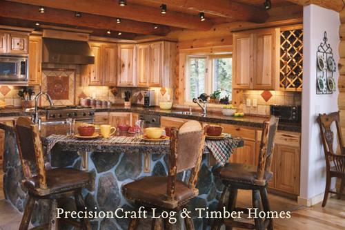 Kitchen In A Custom Log Home Located In Idaho Precisio