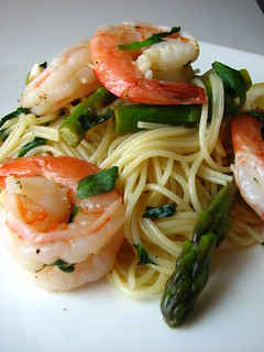 Pasta with Shrimp, Asparagus, and Basil Wine Sauce | by britton618