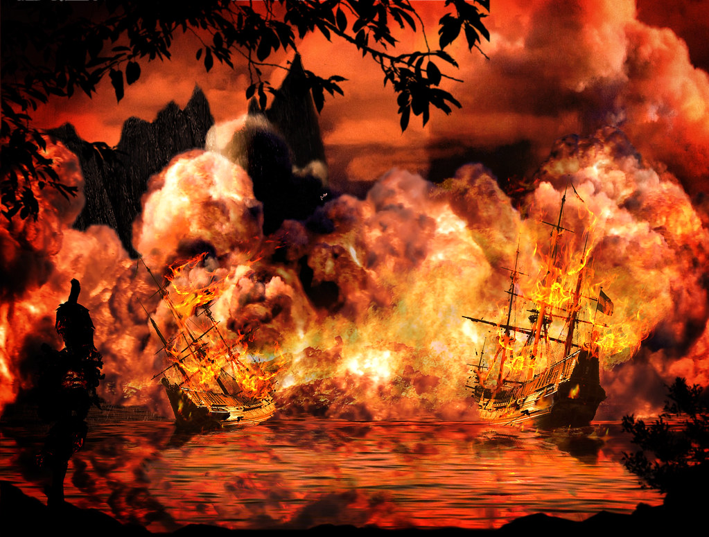 Ships Fire This Composite Background Spent Two