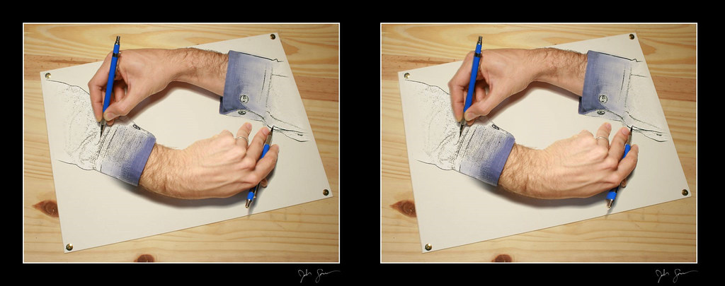 "Escher ""Drawing Hands"" 3D"