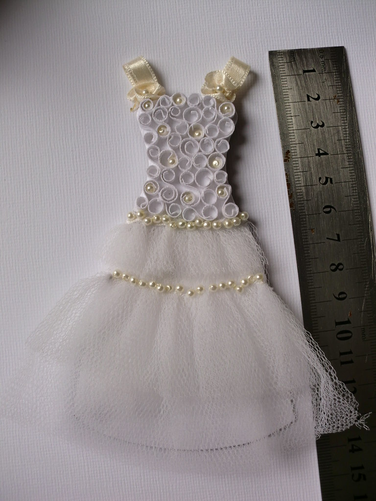 Wedding dress miniature quilling sew eul m flickr for Making baptism dress from wedding gown