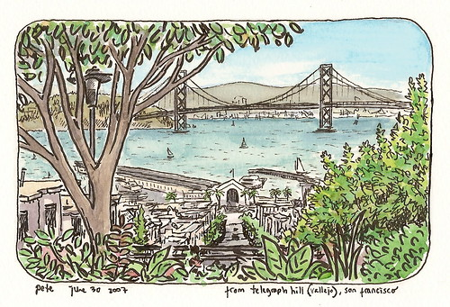 view of the bay bridge from telegraph hill | by petescully