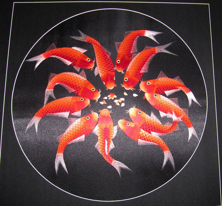 Chinese hand embroidery koi carp painting hand for What does carp mean