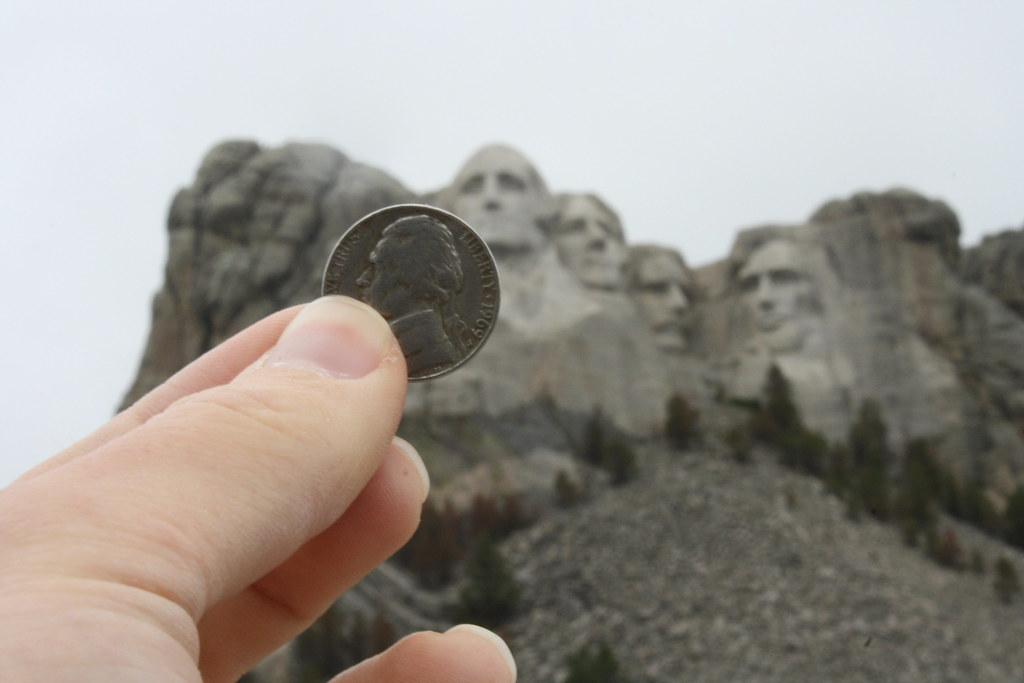 Thomas Jeffersons Likeness In Money And In Rock Mount Ru