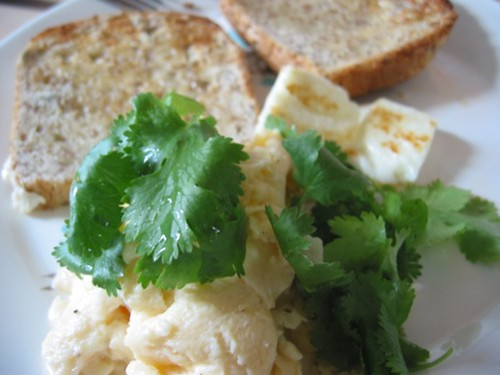 Scrambled eggs with toast, panfried halloumi and coriander… | Flickr