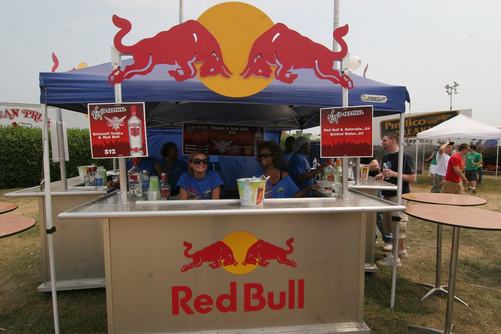 The Red Bull booth outside of the DJ Tent | docmonstereyes ...